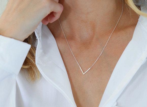 V Pendant Necklace Silver