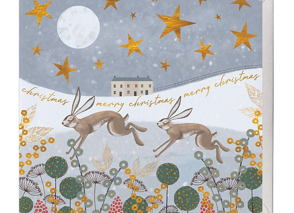 Leaping Hares Christmas Card