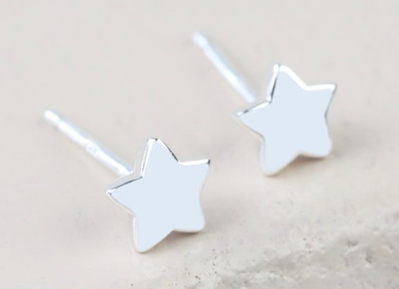 Sterling Silver Puffed Star Stud Earrings