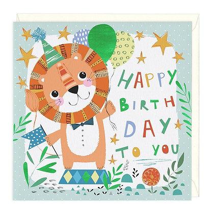 Happy Lion Childrens Birthday Card