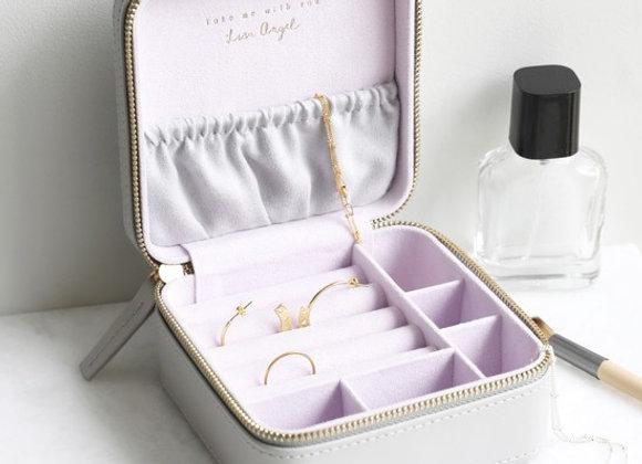 Grey & Lilac Square Travel Jewellery Box