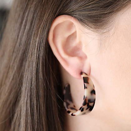 Wide Tortoiseshell Hoop Earrings