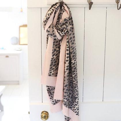 Pink Edge Leopard Print Scarf