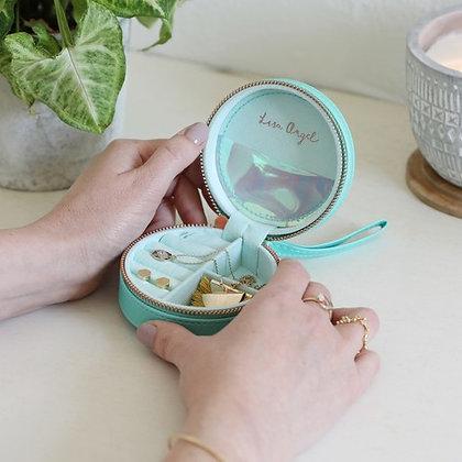 Mini Round Jewellery Case in Turquoise