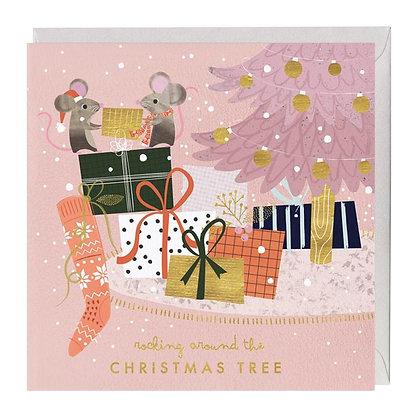 Present Giving Mice Christmas Card