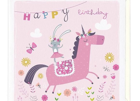 Bunny & Unicorn Childrens Birthday Card