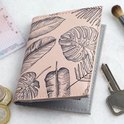 Pink Palm Print Travel Card Holder