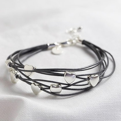 Multi-Strand Heart Bracelet in Dark Grey and Silver