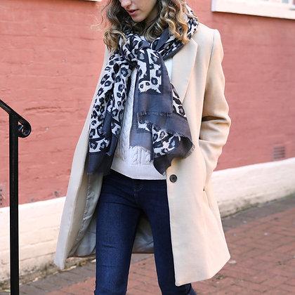 Lightweight Grey Leopard Print Scarf