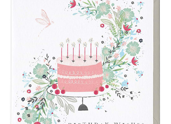 Floral Cake Birthday Wishes Card