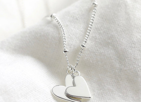 Silver Falling Heart Charms Necklace
