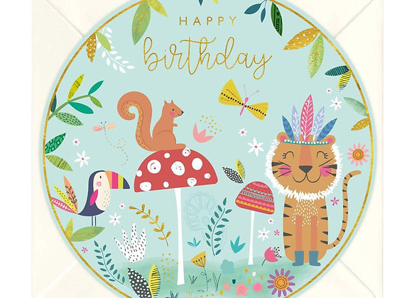 Animals Children's Birthday Round Card