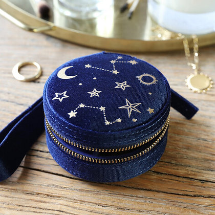 Starry Night Velvet Mini Round Jewellery Case in Navy