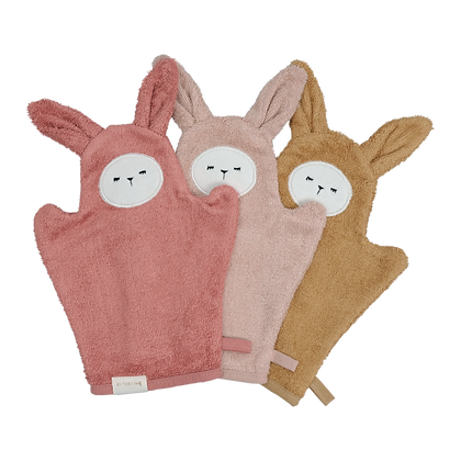 Fabelab Organic Bath Mitts - Bunny & Old Rose Mix - 3 Packs