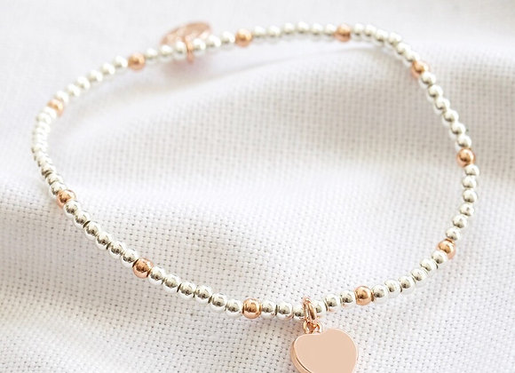 Rose Gold and Silver Beaded Heart Charm Bracelet