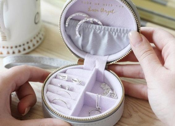 Mini Round Travel Jewellery Case in Grey and Purple