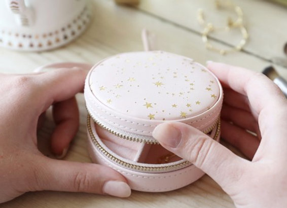 Pink with Gold Stars Mini Round Case