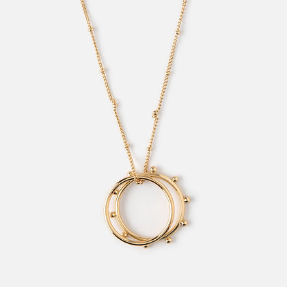 Orelia Double Ring Metal Beaded Necklace
