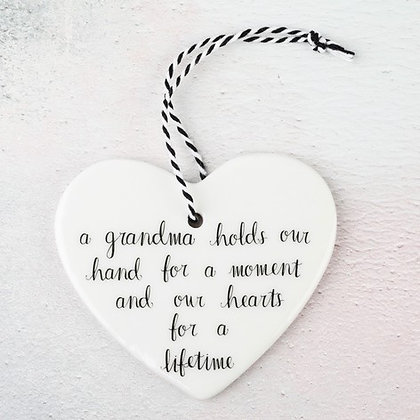 'A Grandma Holds Our Hand...' Hanging Heart Decoration