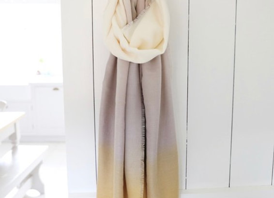 Soft Yellow and Cream Ombre Scarf