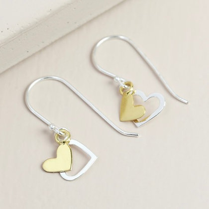Sterling Silver Mixed Metal Double Heart Drop Earrings