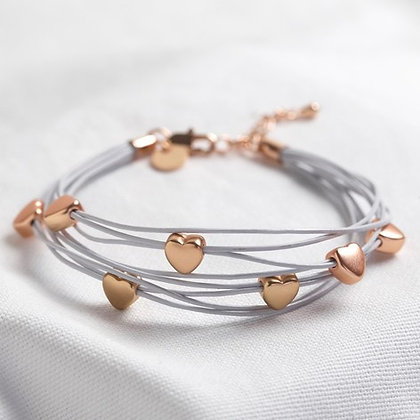 Multi-Strand Heart Bracelet in Grey and Rose Gold