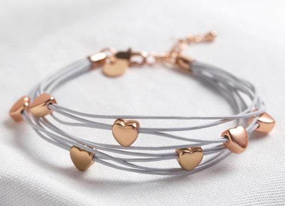 Multi-Strand Heart Bracelet in Grey and Rose Gold