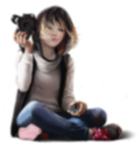 a photographe girl holding a camera and sitting cros legged wit jeans, a white turle neck, black vest,and pink shoes. Her hair is black and blonde, and she has green eyes. She holds the acamera lens in her other hand