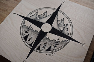 Compass Rose Pen & Ink Design by Konrad W.