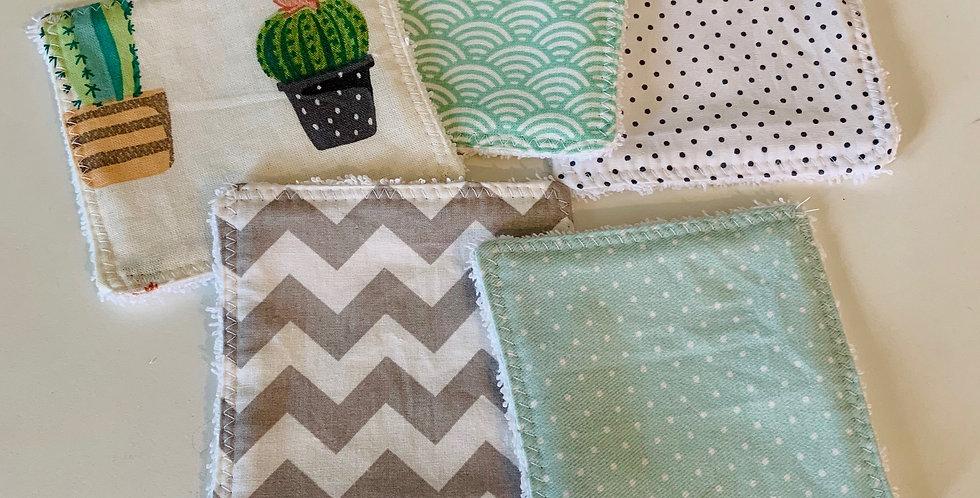 Reusable cotton Square - Cactus & Green