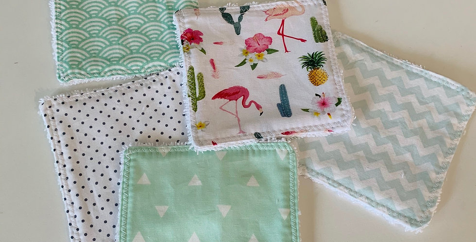 Reusable cotton Square - Flamingo & Green