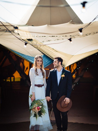 modern prairie bride and groom