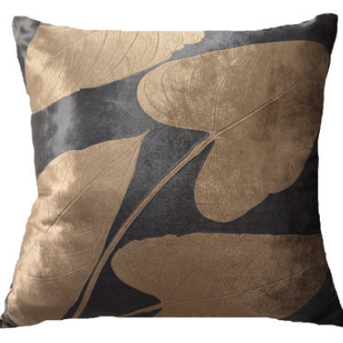 Aviva Stanoff Heart Leaf on Midnight Cushion