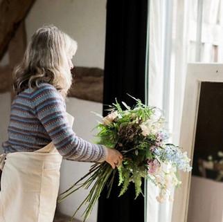 Caroline Clements wedding Flowers preparing flowers