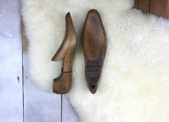 Vintage Wooden Shoe Tree with Hinges
