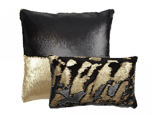Aviva Stanoff Sequin in Black and Taupe Cushion