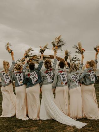 bridemaids in jean jackets