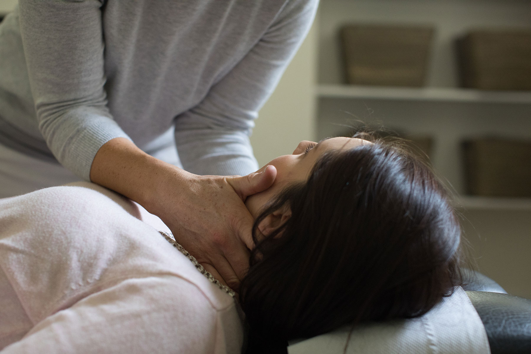 woman getting neck treatment at move