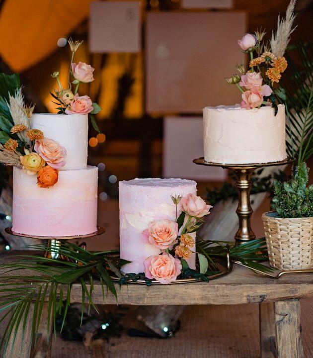 modern prairie wedding cake