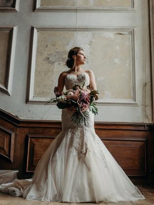 bride wearing lace dress