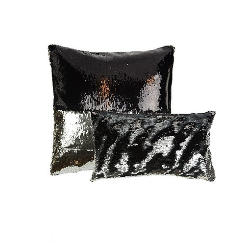 Aviva Stanoff Sequin in Black and Silver Cushion