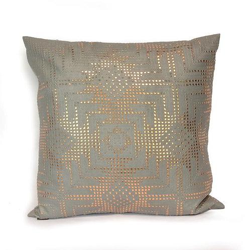 Aviva Stanoff Rose Gold Aztec Lace on Grey Cushion