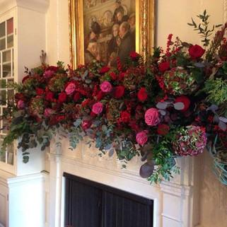 Caroline Clements wedding Flowers fireplace garland