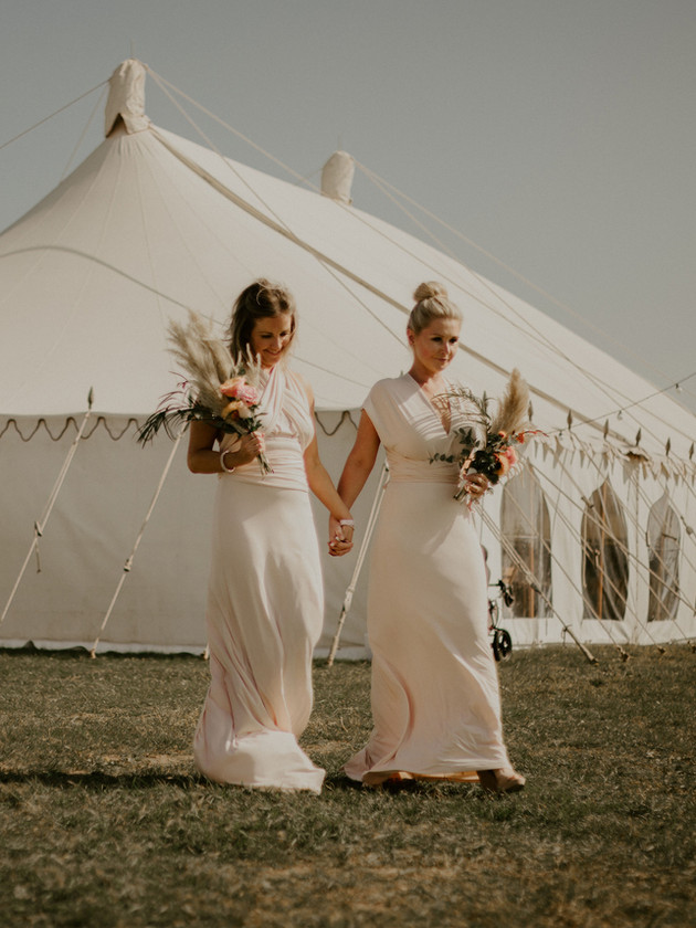 bridesmaids and marquee