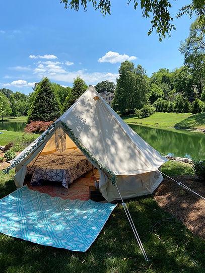 Glamping party bell tent rent vintage camper rental Nashville Franklin Tennessee