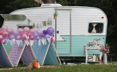 vintage glamping birthday party rental