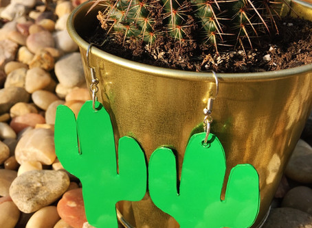 Cactus Earrings- Made from recycled plastic!