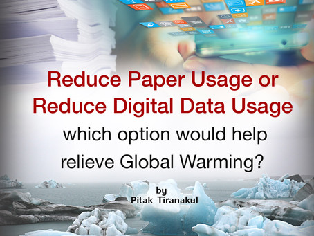 """Reduce Paper Usage or Reduce Digital Data Usage"", which option would help relieve Global Warming?"