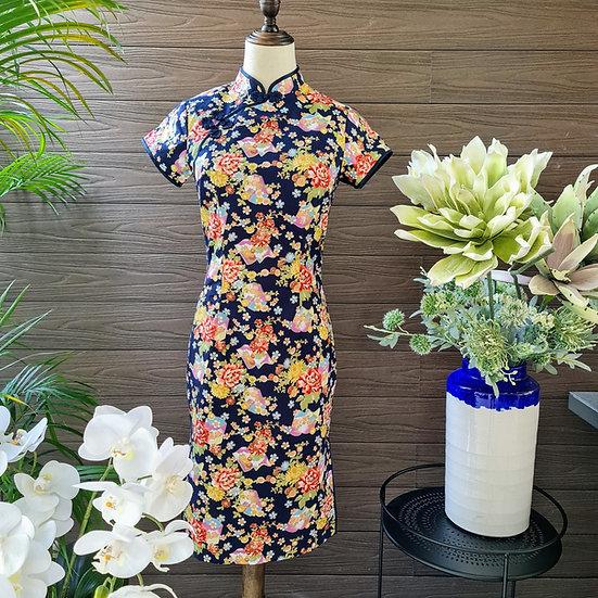 Peony Kiku Blooms Cheongsam Dress