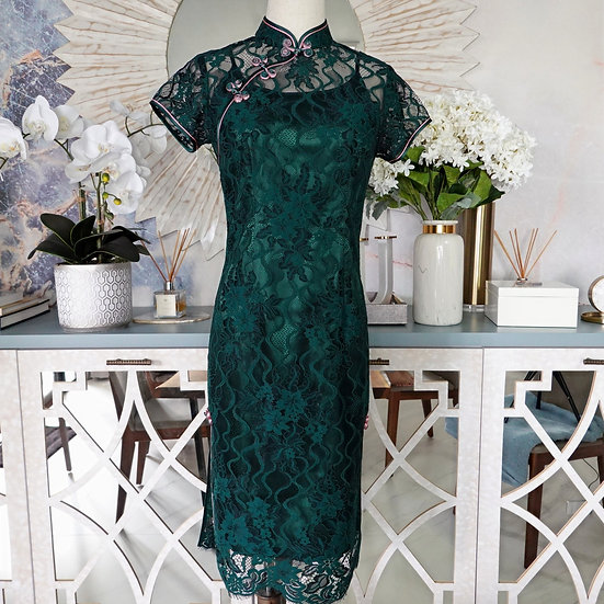 Serene Jadeite Chantilly Lace Cheongsam Dress